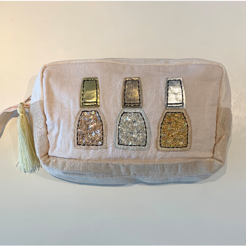 Cosmetic Bag mit Nagellackdeko gold